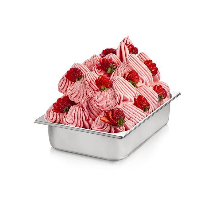 Prodotti per gelateria | Acquista online su Gelq.it | BASE PRONTO FRAGOLA CON PEZZI di Rubicone. Basi complete gelato frutta.