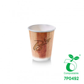 BICCHIERE BIO BIBITA CALDA  3OZ - COMPOSTABILE - GRAFICA PALM LEAF