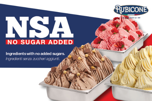 NSA Rubicone: healthy gelato ingredients, without added sugar and lactose free.